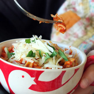 Comfort Food Pasta Bowl with Tomato and Basil Pasta Sauce