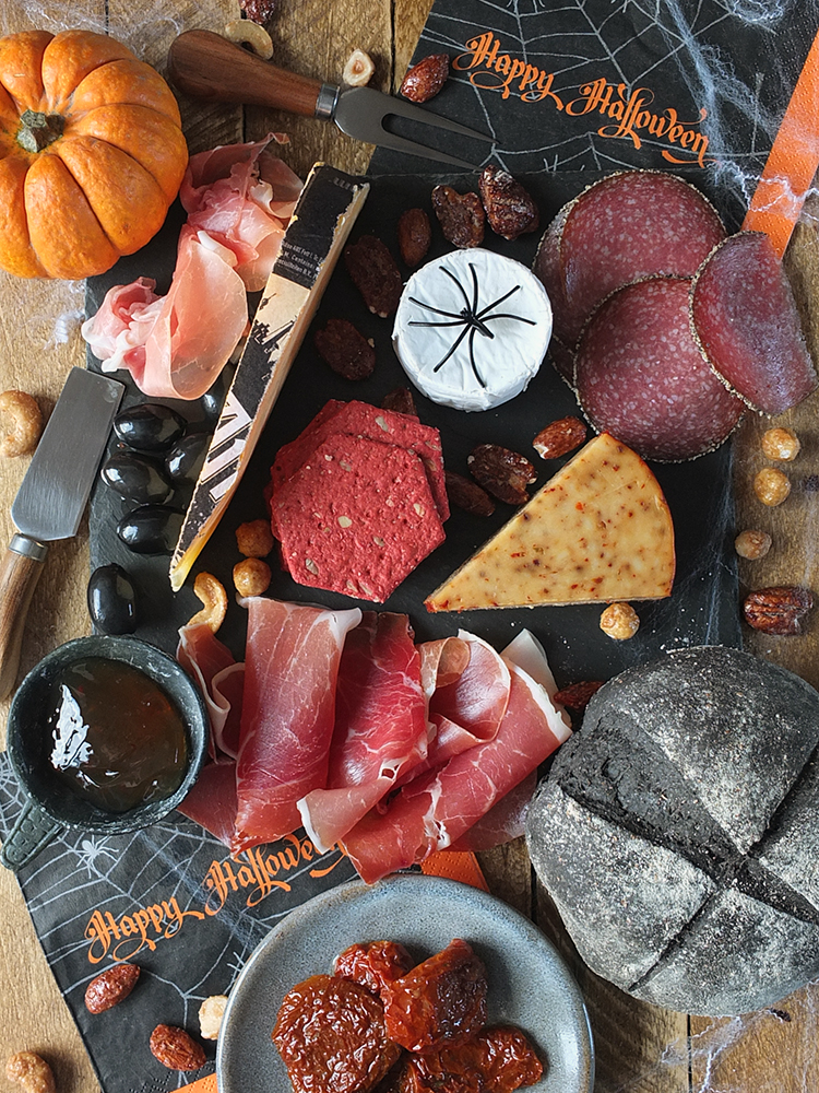 Halloween Cheeseboard with Black Bread