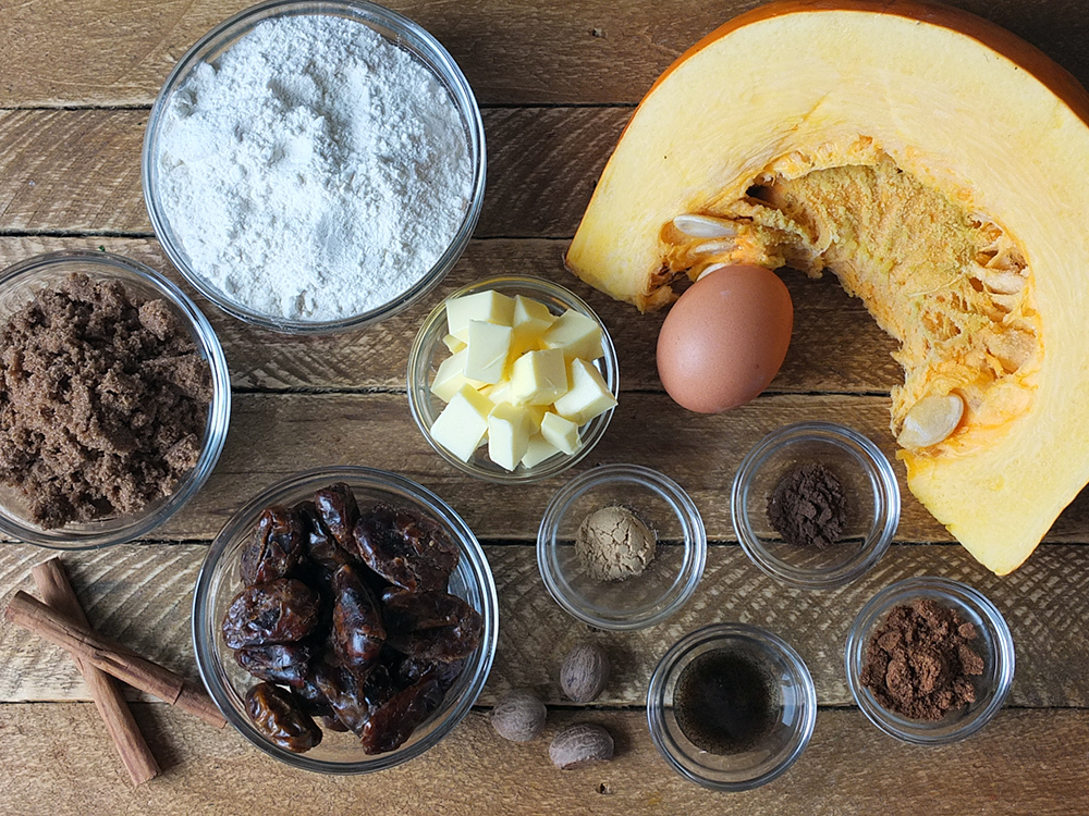 Ingredients for pumpkin spiced sticky toffee pudding