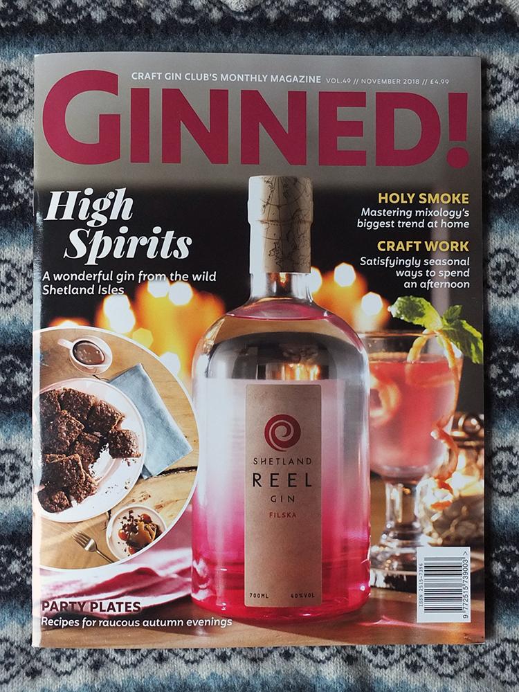 Ginned - Craft Gin Club Monthly Magazine Shetland Filska Gin Cover