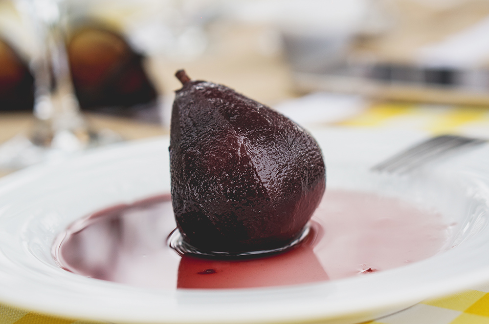 Rocha Pears in Red Wine