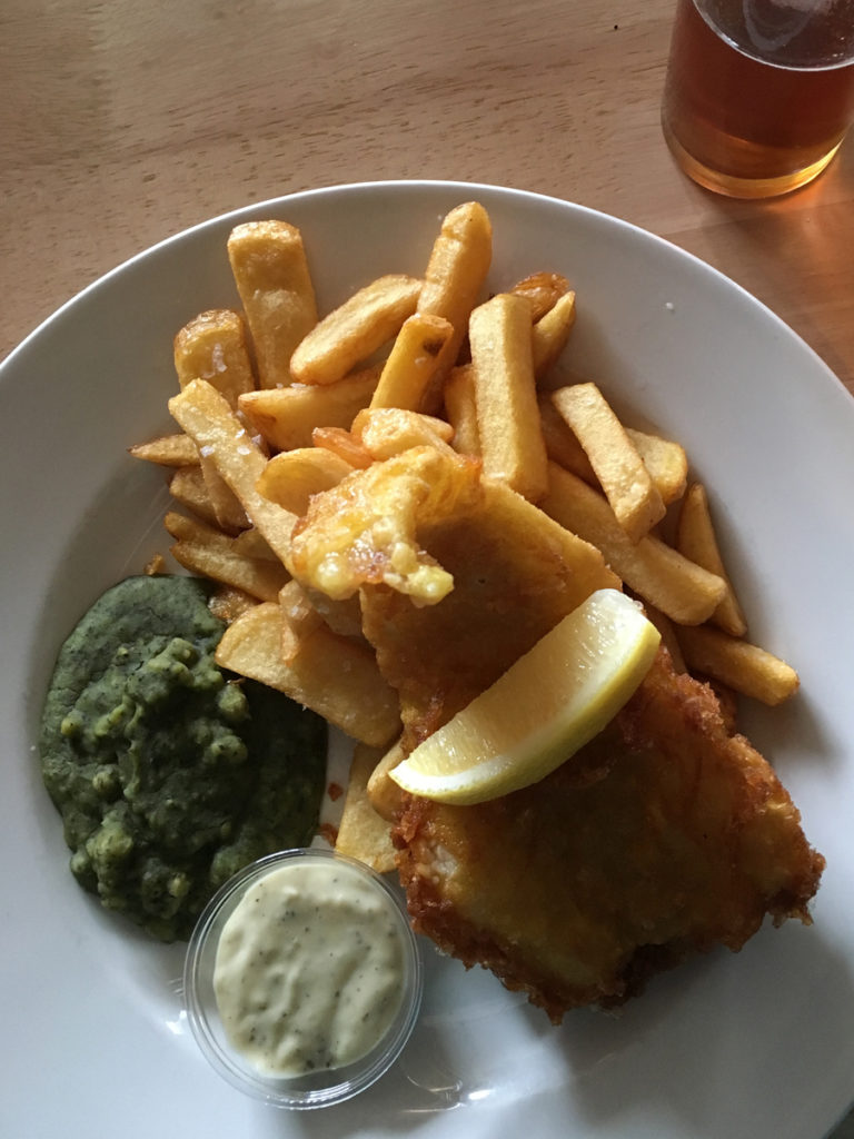 Fish and Chips at the First and Last Inn Lands End Cornwall