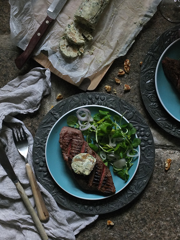 Grilled Steak with Saint Agur and Walnut Butter