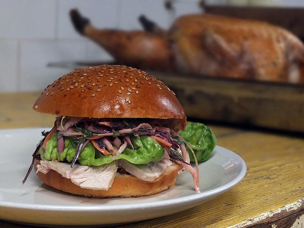 Leftover roast turkey burger