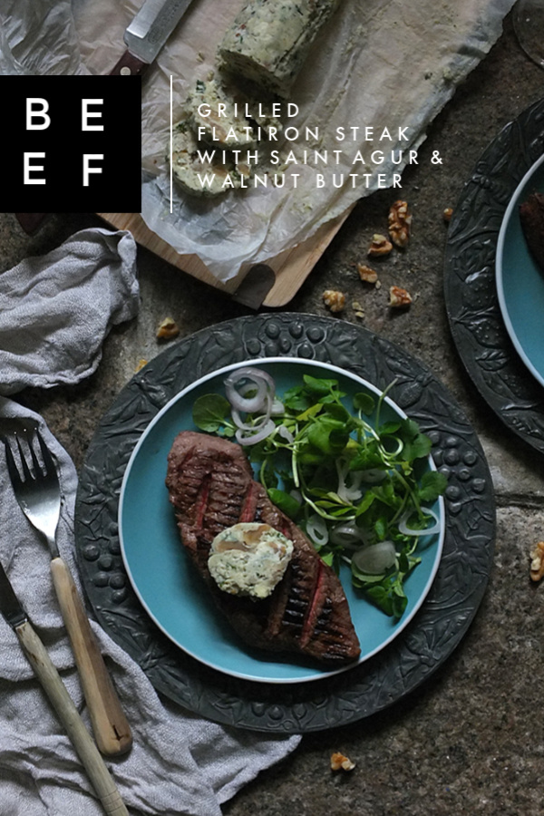 Grilled Steak with Saint Agur and Walnut Butter #steak #bluecheese #walnuts