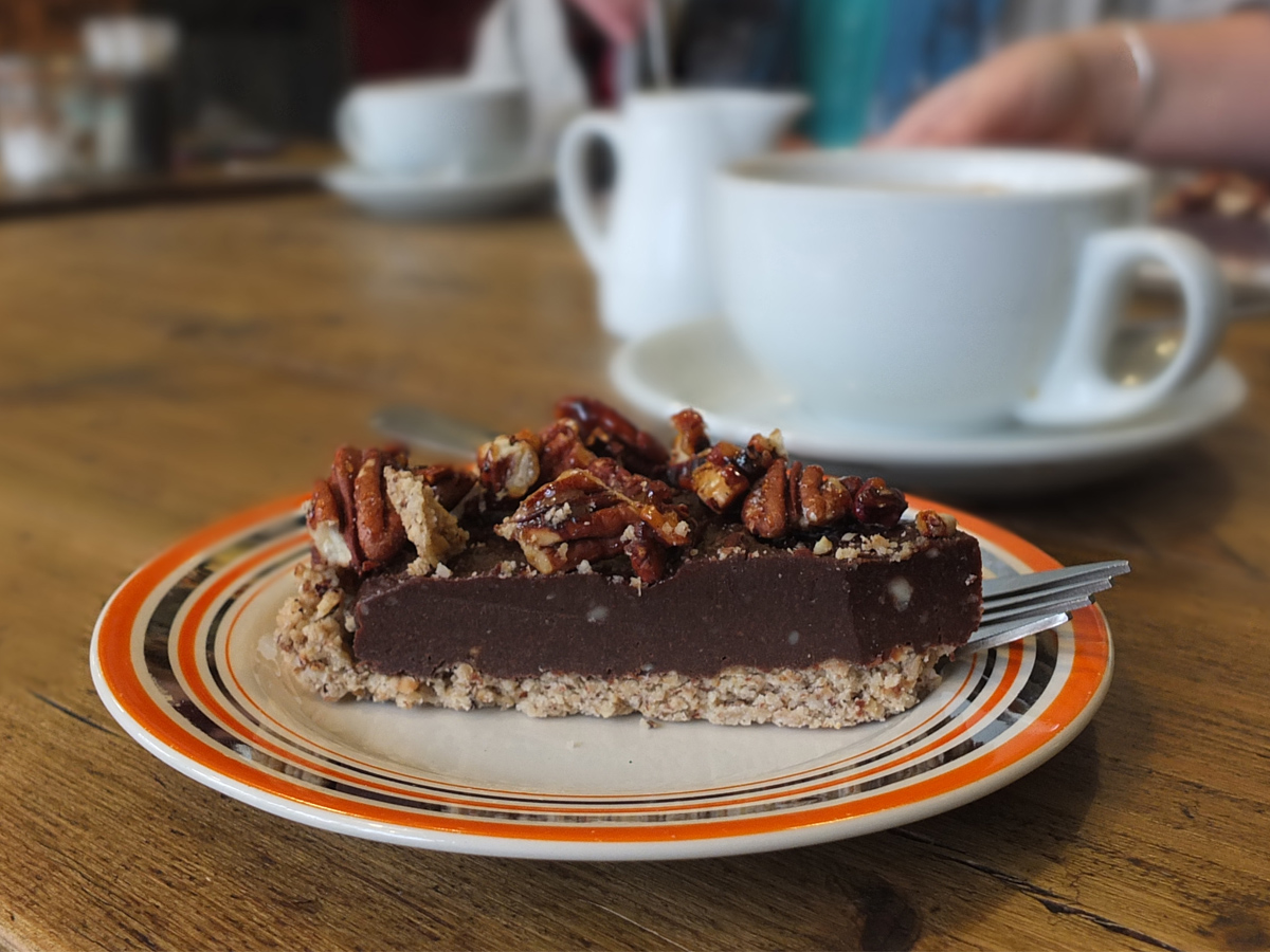 Vegan chocolate pecan tart Olive and Co Liskeard