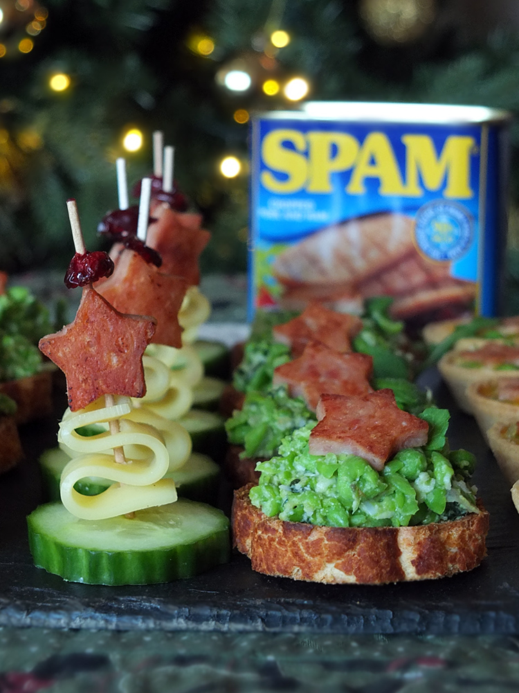 Christmas SPAM canapes - Sizzling SPAM® Star Crostini