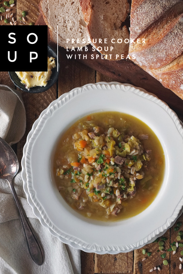 Leftover Lamb Soup with Split Green Peas and Pearled Spelt #lunchrecipe #soup #pressurecooker #leftovers #lamb