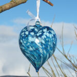 Bath Aqua Glass Heart Bauble