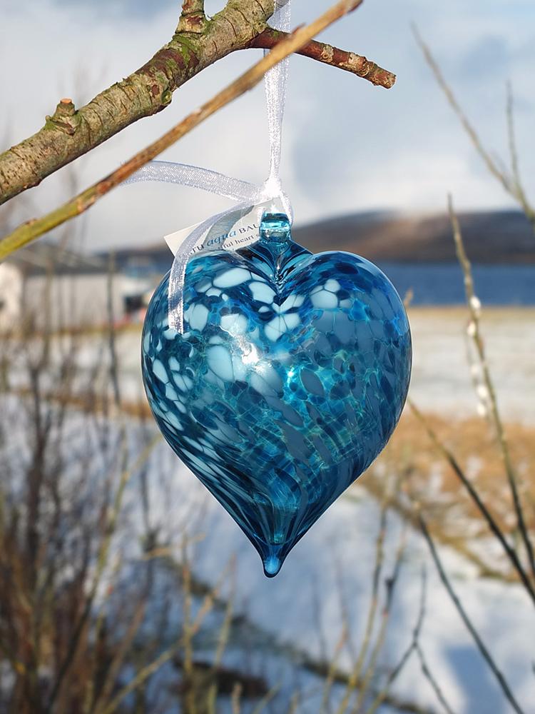Bath Aqua Glass Heart Bauble