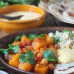 Slow Cooker Harissa Butternut Stew #slowcooker #crockpot #vegetarian