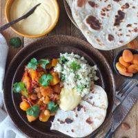 Slow Cooker Harissa Butternut Stew #slowcooker #crockpot #vegetarian