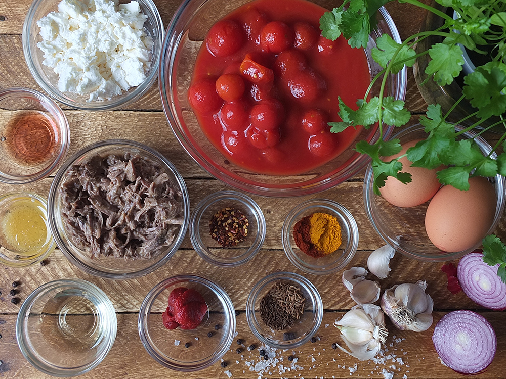 Ingredients for Lamb Shakshuka for Two