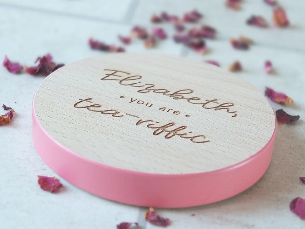 Personalised tea coaster