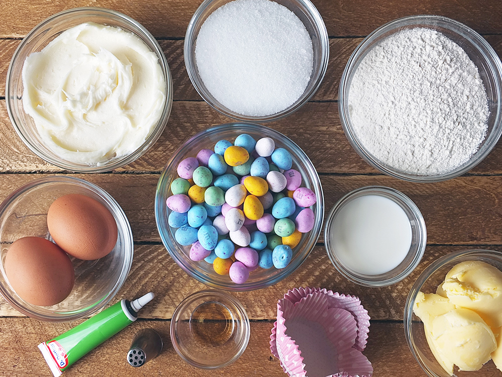 Ingredients for Easter Egg Cupcakes