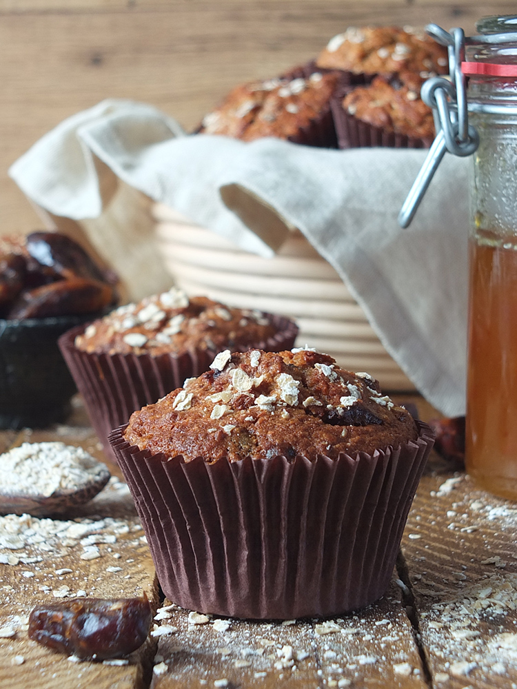 Date and oat muffins are super easy to make, and they taste absolutely fantastic! If you're a fan of sticky toffee pudding or date squares you'll love these breakfast muffins made with rolled oats, buttermilk and chopped dates. #breakfast #muffins #oatmuffins