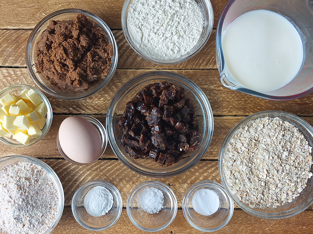Ingredients for date and oat muffins recipe