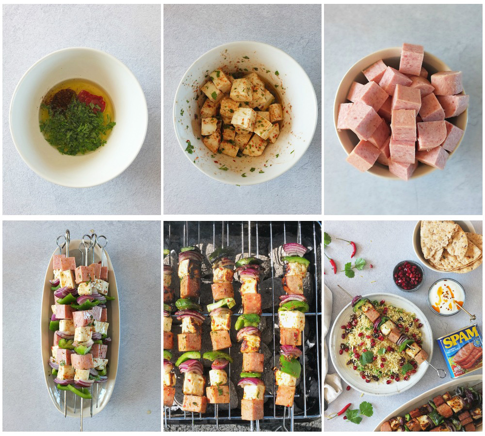 This SPAM® BBQ kebab recipe is super easy to whip up for any last minute BBQs you might be hosting this summer. Cubes of squeaky Halloumi cheese marinaded in chilli, parsley, cumin and coriander are threaded onto skewers with red onion, green pepper and sizzling SPAM®