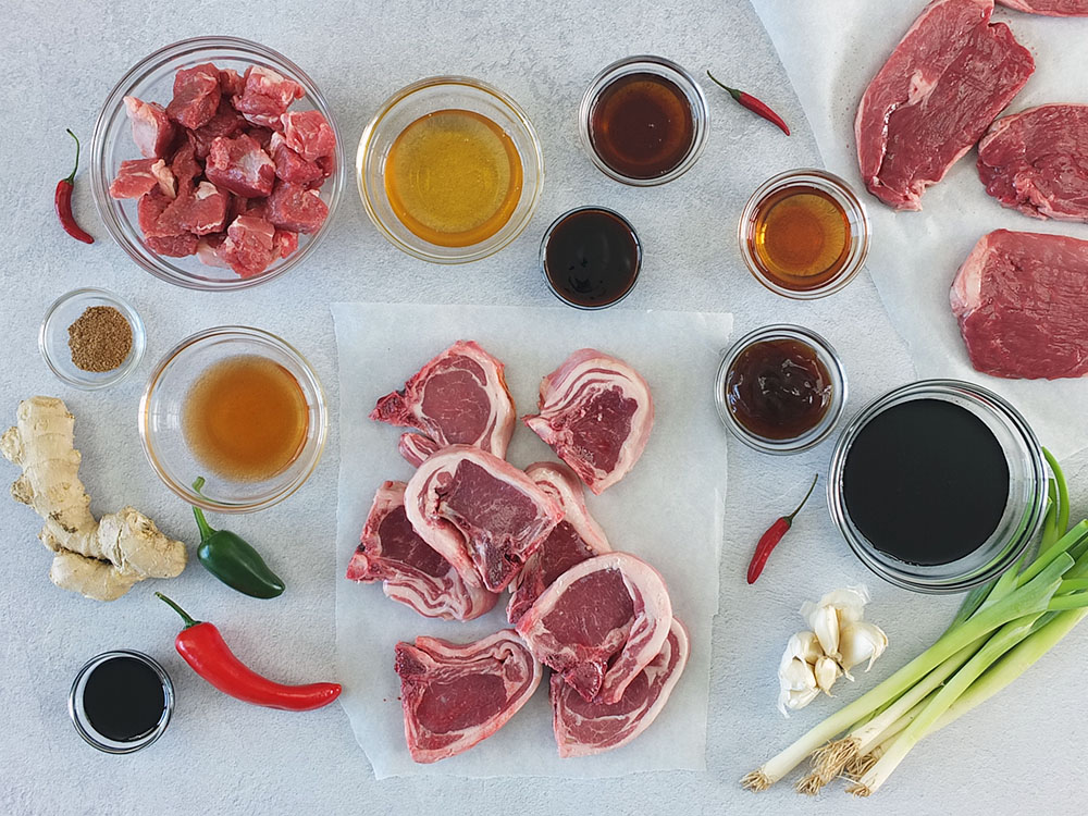 Ingredients for three super easy Asian-inspired BBQ lamb marinades for lamb steaks, lamb chops and cubed lamb shoulder kebabs. #bbq #barbecuemarinade #marinade #lamb #bbqrecipe #barbecuerecipe
